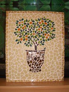 Tableau Fleur Mosaique Modele Image En Mosaiques Pot