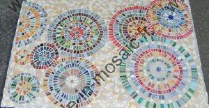 Tableau g ometrique mosaique cercle modele image en - Modele mosaique pour plateau ...