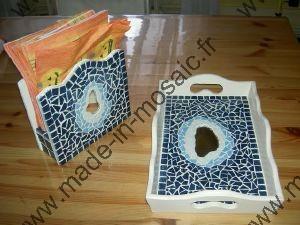 Plateau mosaique bleu modele en mosaiques de plateau chez made in mosaic - Modele mosaique pour plateau ...