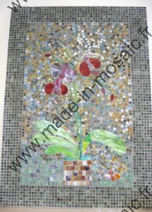 TABLEAU SUR FIBRE ORCHIDEE REALISATION MADE IN MOSAIC