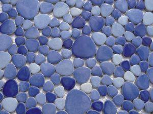 Mosaïque galets émaillés mélange bleu- Vente en ligne de galet émaillé