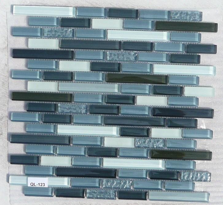 Mosaique p te de verre bleu ardoise et gris barette plaque - Mosaique pour salle de bain pas cher ...