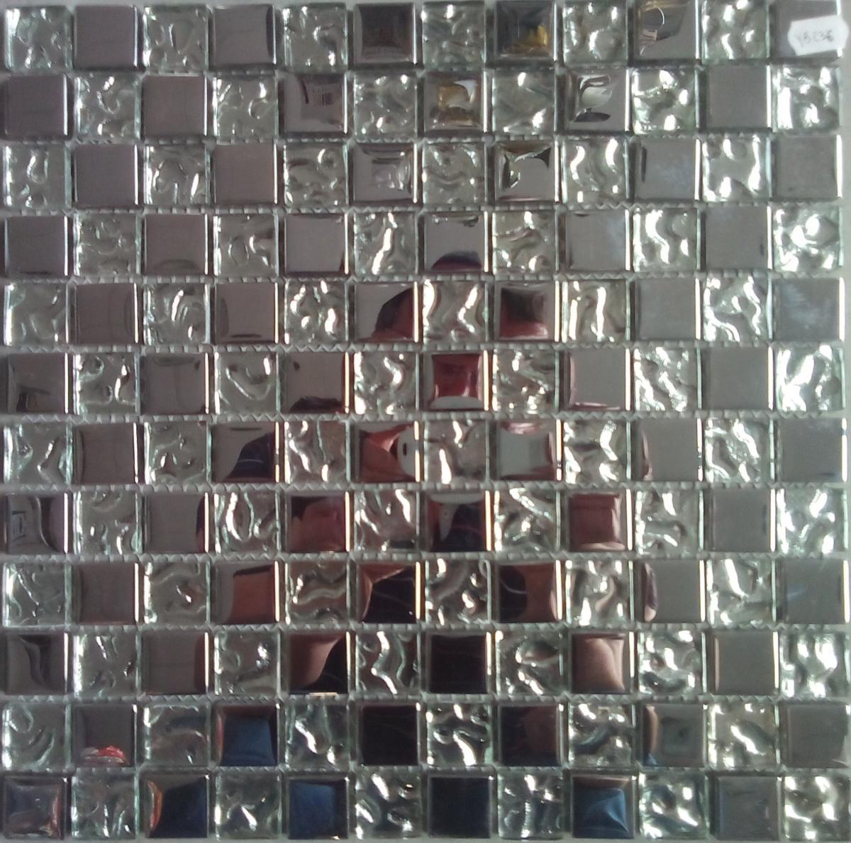 Recouvrir Carrelage En Relief argent relief et lisse mosaïque émaux de verre vetrocristal par plaque