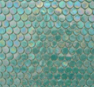 mosaque vert turquoise galet de verre nacr rond par plaque de 29 par - Mosaique Turquoise