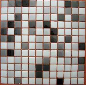 Mosaïque Pâte De Verre Carré Mélange Noir Blanc Plaque   Achat De Mosaïque  Salle De Bain Pas Cher