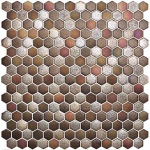 Mosaïque Pâte De Verre Hexagone Brun Cuivre Plaque   Achat De Mosaïque Salle  De Bain Hexagonale