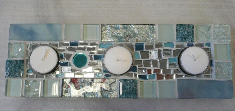 Centre de table d co no l mosa que centre 3 bougies pour mosa que de verre chez made in mosaic - Modele de creation en mosaique ...
