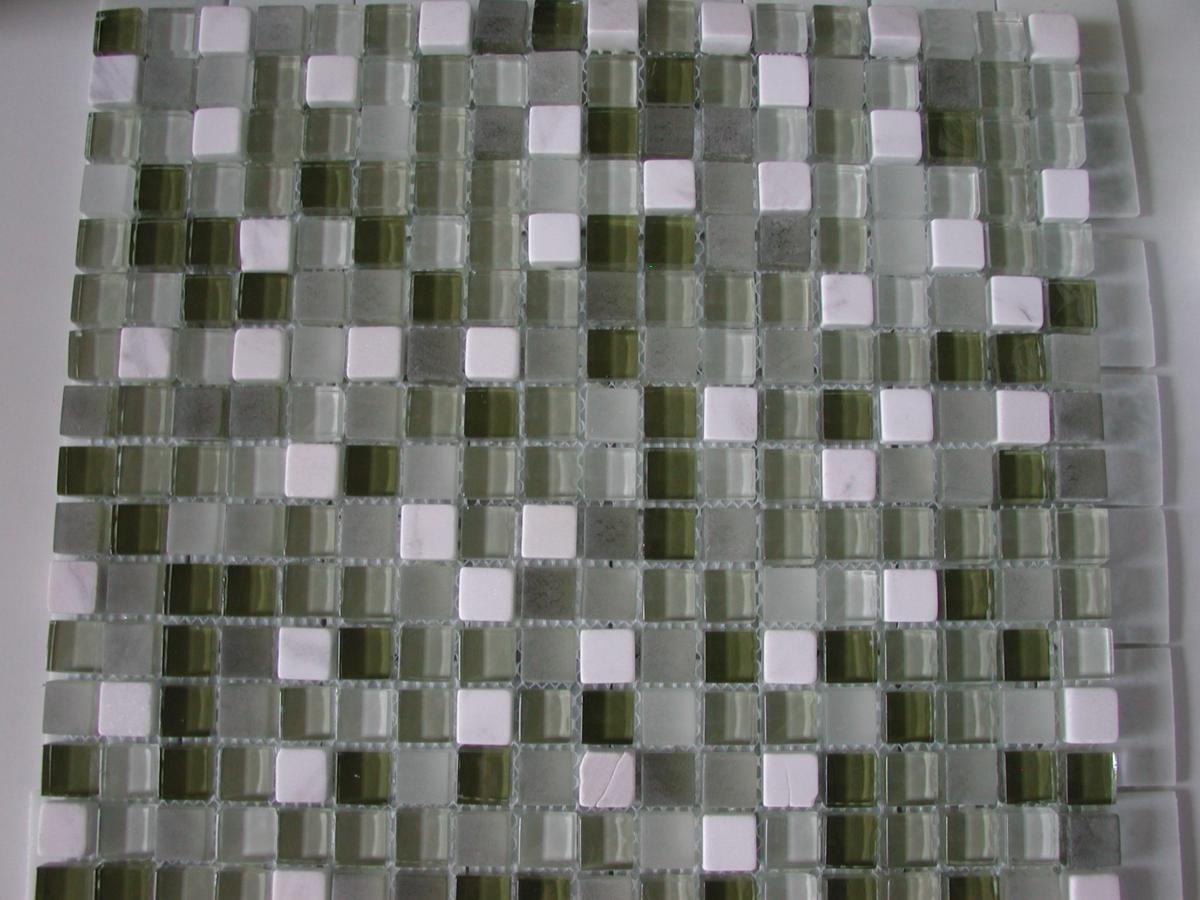 Recouvrir Frise Carrelage Salle De Bain blanc vert olive mosaïque brillant et mat 15 mm mosaïque émaux vetrocristal  lot de 8 m2