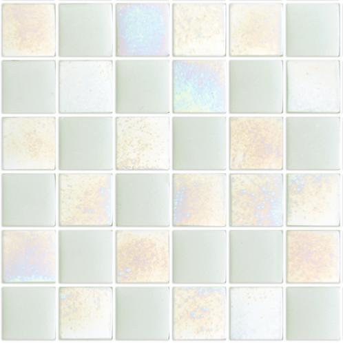 Blanc Nacre Et Uni IBIZA Mosaique Emaux 24 Cm Brillant Pleine Masse