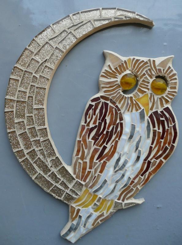 Chouette support bois pour mosaique animaux - hibou et chouette pour mosaique chez made in mosaic