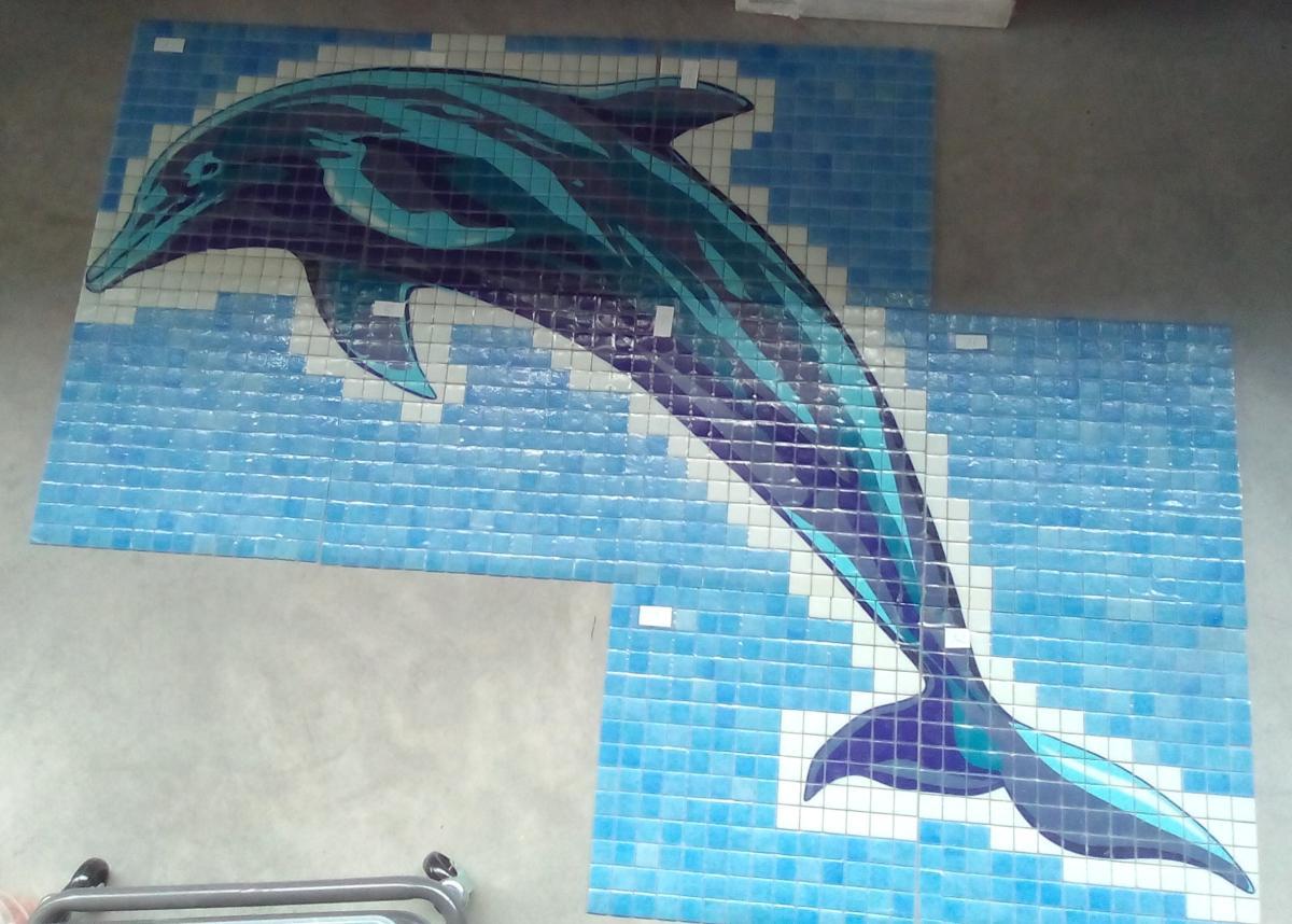 Mosaique Decor Dauphin Serigraphier Mosaique Sur Mesure Sol Et Mur