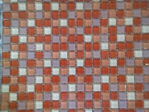 Mosaïque rose mix berlingot rose rouge 1.5 mm vétrocristal par 36 carreaux