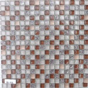 Rose mosaïque mix rose brun taupe crackle 1.5 mm vétrocristal à la plaque