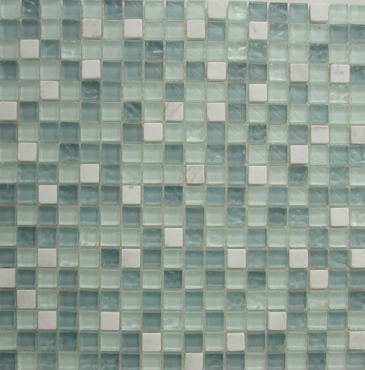 Carrelage Salle De Bain Bleu Turquoise bleu mosaïque mix bleu turquoise clair et marbre blanc pâte de verre  vétrocristal plaque 30 cm