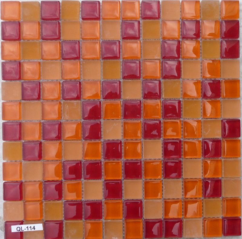 mosa que p te de verre couleur rouge orange 8 mm plaque vente de mosa que salle de bain. Black Bedroom Furniture Sets. Home Design Ideas
