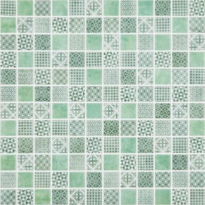 Mosaique Carreau Ciment Tons Vert Par Plaque De 30 Cm Achat