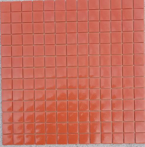 Rouge brique uni mosaïque émaux brillant 2.5 cm plaque pour vrac