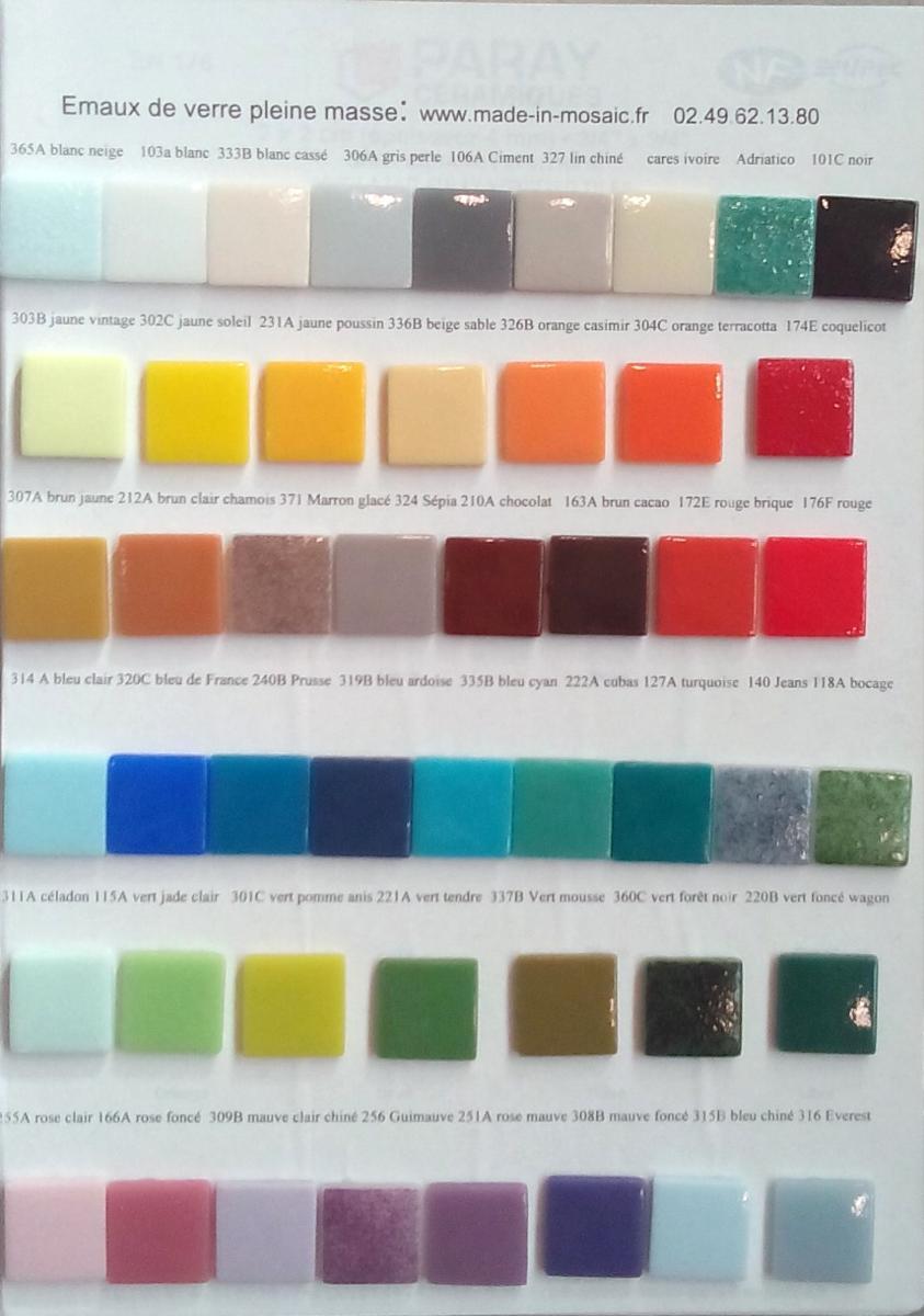 maux de verre nuancier des mosa ques maux de verre. Black Bedroom Furniture Sets. Home Design Ideas