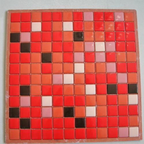 Mosaïque pâte de verre carré mélange rouge brun plaque - Achat de ...