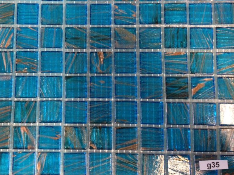 Mosaïque pâtes de verre au m²- mosaique bleu turquoise gemmé ...