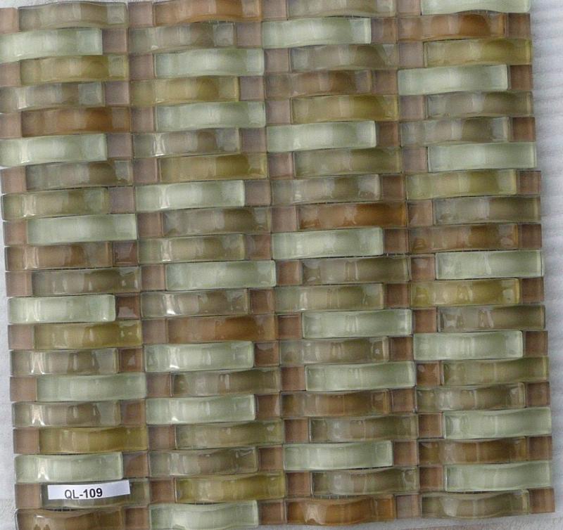 mosa que p te de verre barrette brun ondul vente de mosa que salle de bain. Black Bedroom Furniture Sets. Home Design Ideas
