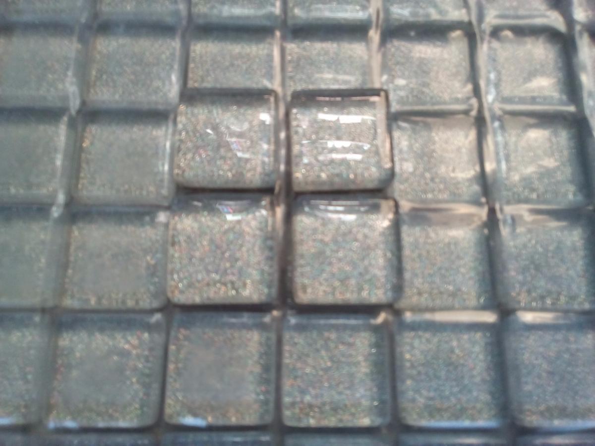 Gris argent paillette carrés 16 mm 16 mm épaisseur mosaïque émaux par 16  carreaux