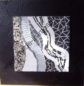 mosaique de noir blanc modele image en mosaique abstraite de chez made in mosaic. Black Bedroom Furniture Sets. Home Design Ideas