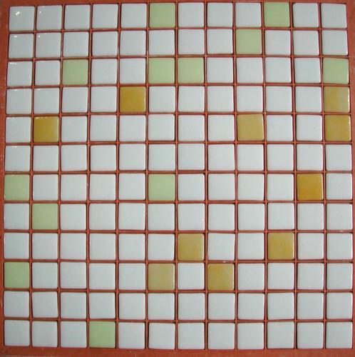 Mosaïque Pâte De Verre Carré Mélange Blanc Jaune Plaque   Achat De Mosaïque  Salle De Bain Pas Cher