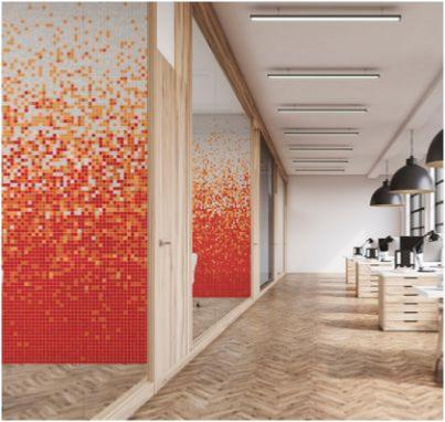Mosaïque dégradée blanc orange rouge JAMAICA 903 uni par 1 M²