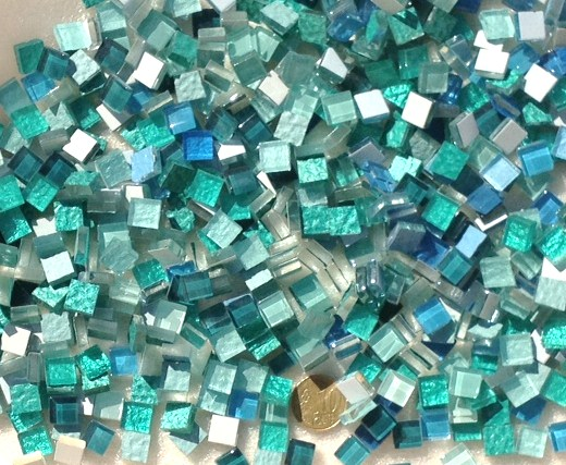 camaieu turquoise micro mosaque vetrocristal par 100 grammes - Mosaique Turquoise