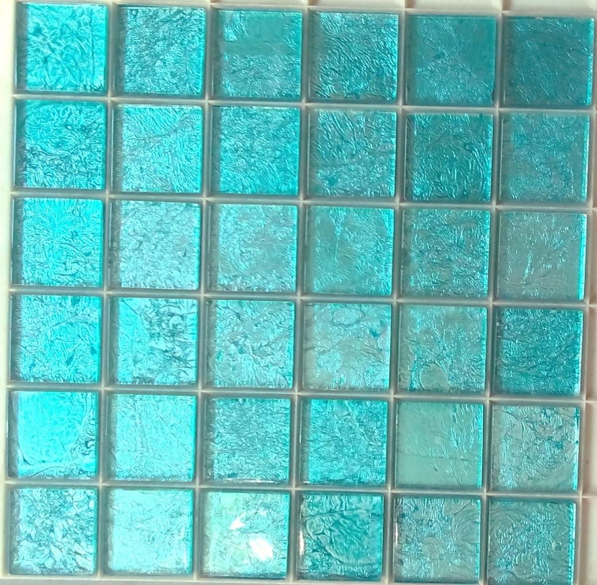 Mosa que carrelage et frise turquoise 4 8 cm par plaque for Carrelage mosaique bleu turquoise