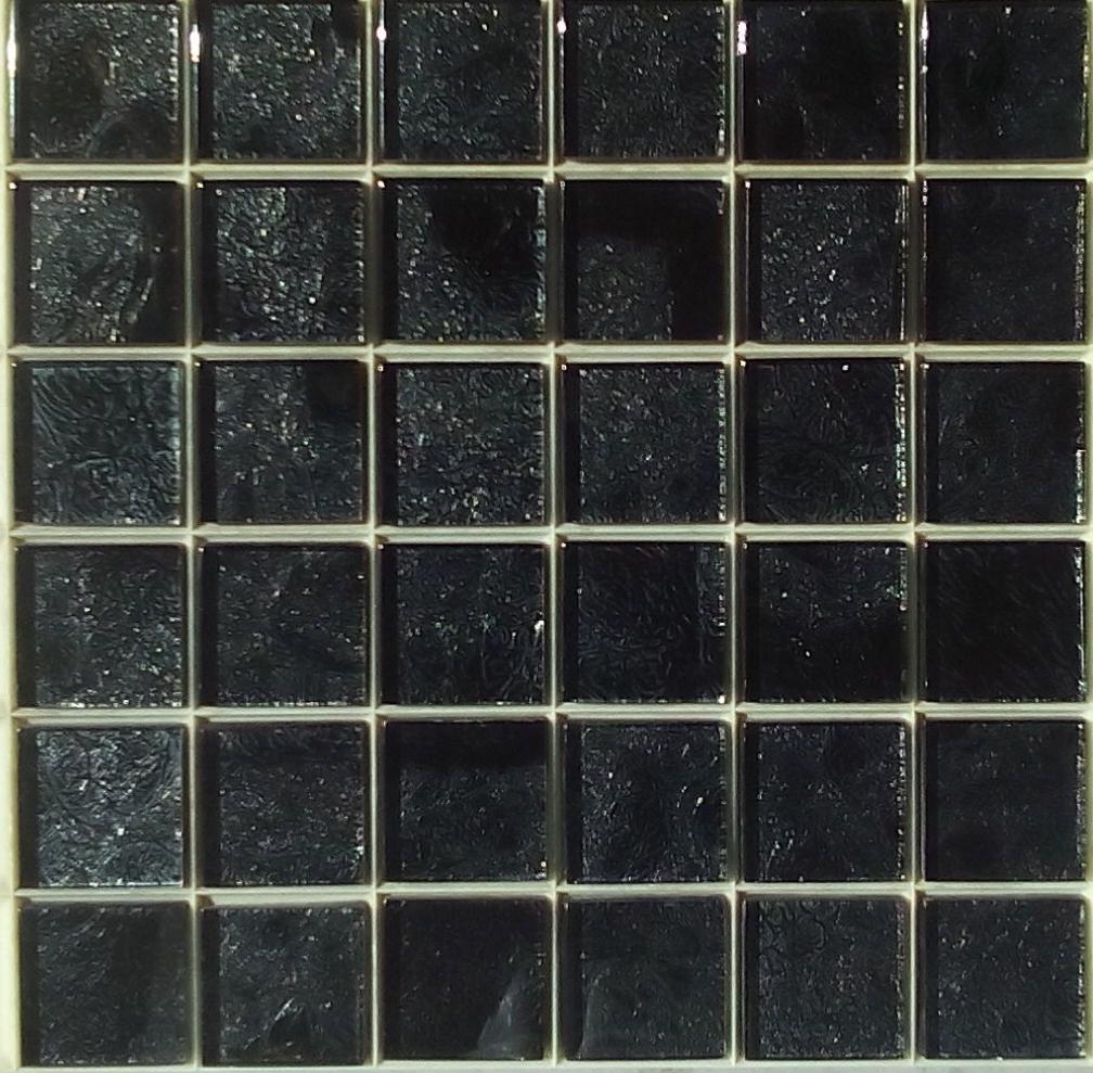 mosaïque carrelage et frise, noir avec feuille argent 4.8 cm par ... - Mosaique Noire Salle De Bain