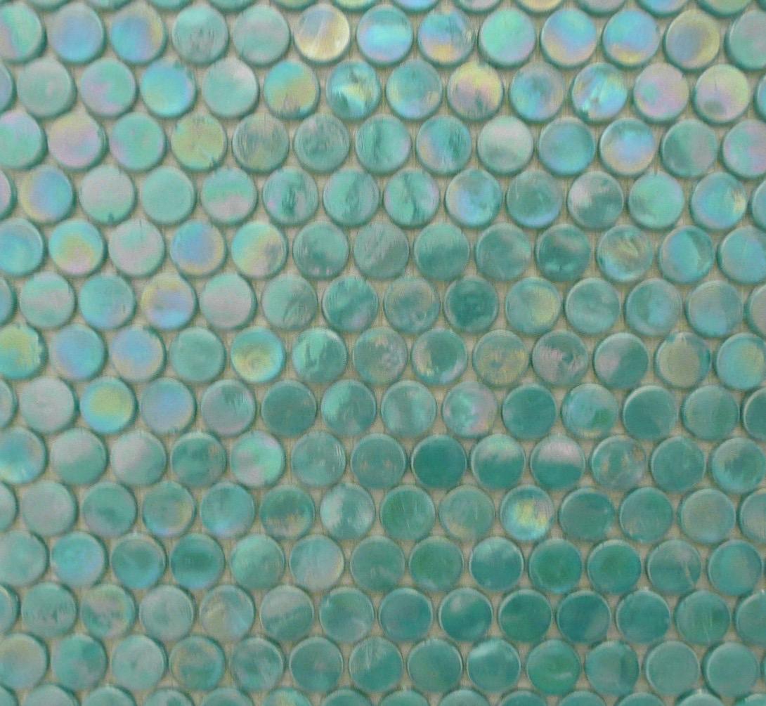 Mosaïque ronde pastille verre vert turquoise par plaque - Achat de ...