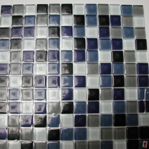Mosaïque pâte de verre couleur bleu blanc noir gris mélange plaque ...