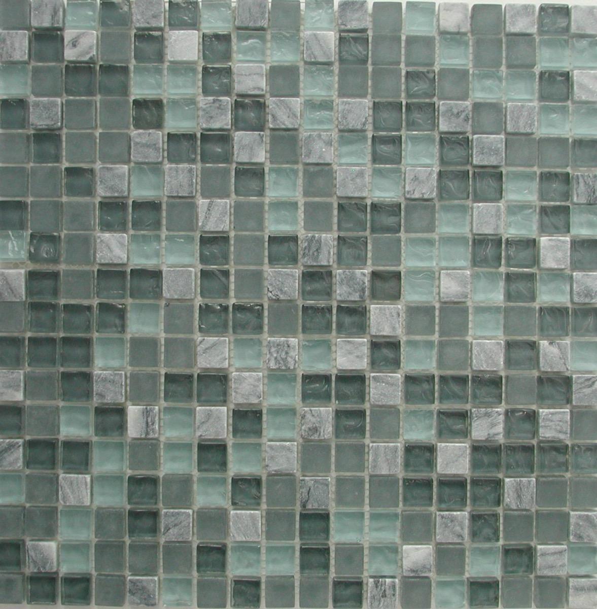 Bleu mosaïque mix bleu turquoise foncé et marbre blanc pâte de verre  vétrocristal plaque