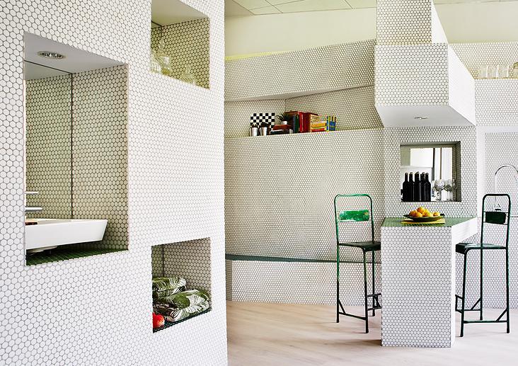 Mosa que p te de verre rond pastille blanc mat plaque - Plaque murale salle de bain ...