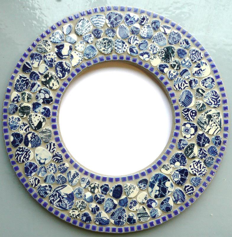 Miroir rond fourniture mosaique miroir rond pour for Miroir galet