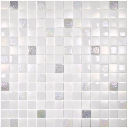 Mosa que p te de verre carr blanc nacr mix plaque - Mosaique blanche salle de bain ...