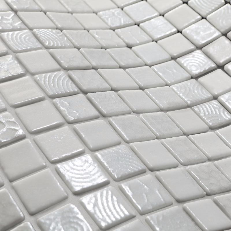 Mosa que maux de verre blanc relief hera par plaque de cm achat mosaique salle de bain - Mosaique salle de bain blanche ...