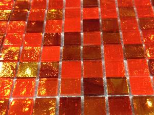 Orange flamme mosaïque mix miroir par 25 carreaux de 1.5 par 1.5cm