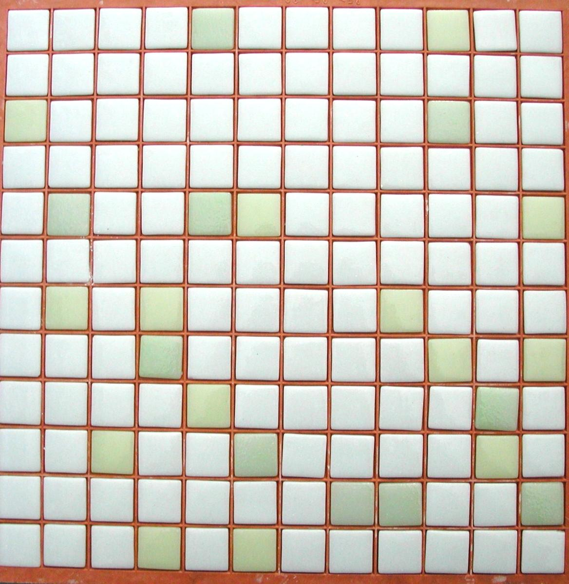 Blanc et vert mélange SAMOA N°7-9-10 mosaïque émaux brillant mix couleurs  plaque