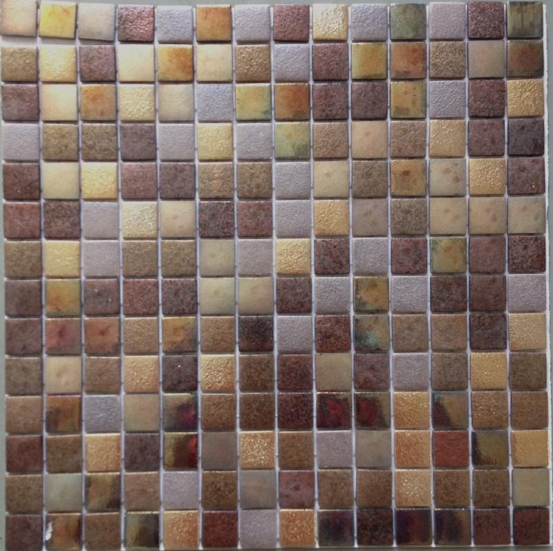 Mosa que p te de verre carr brun nacr mix plaque achat for Mosaique argente salle de bain