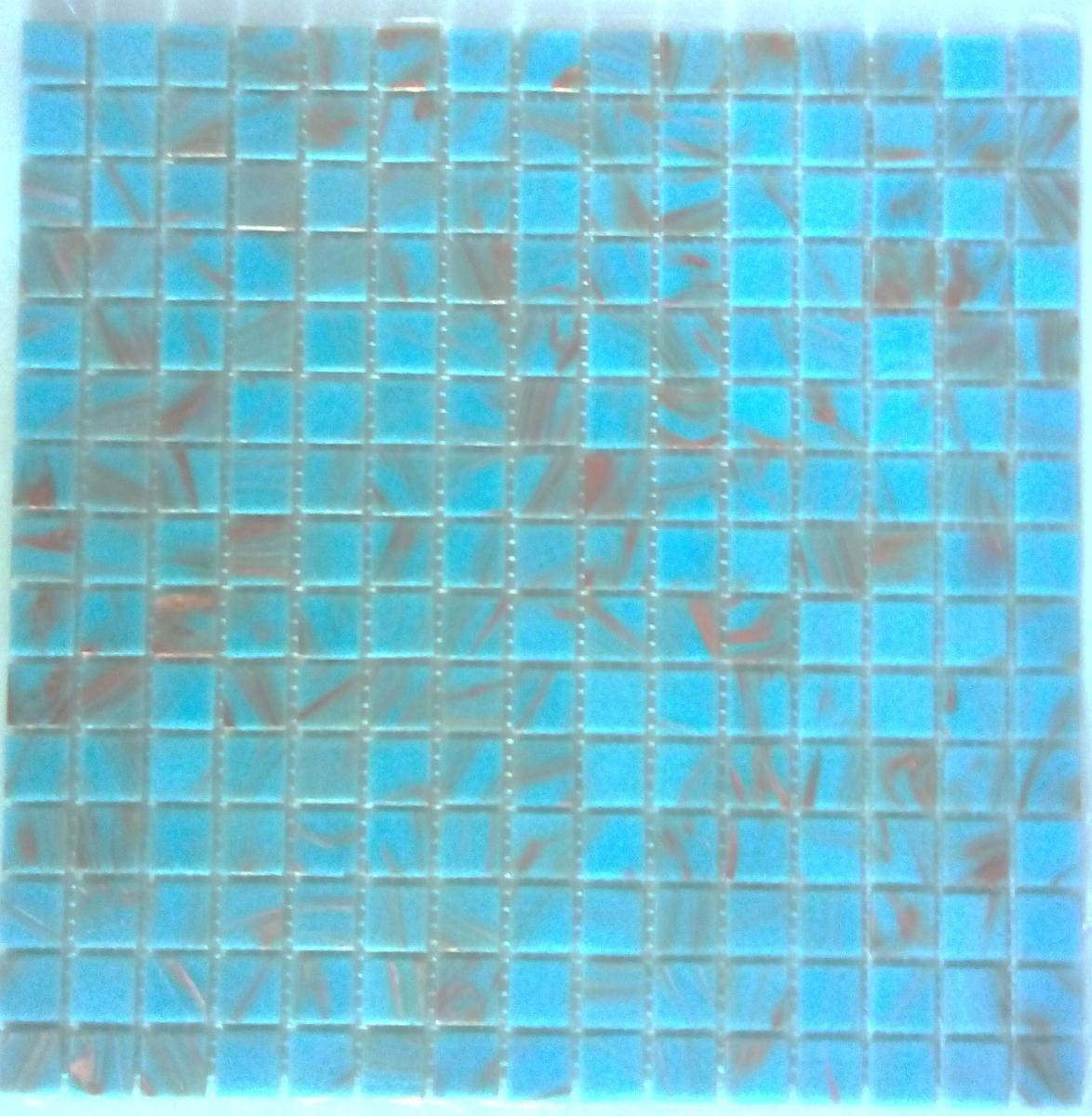 Bleu mosaïque pâte de verre bleu clair cyan gemmé / bleu de Crimée en plaque
