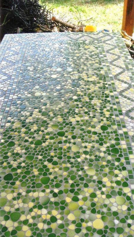 Vert Mosaïque Vert Printemps Galet émaillé Plaque