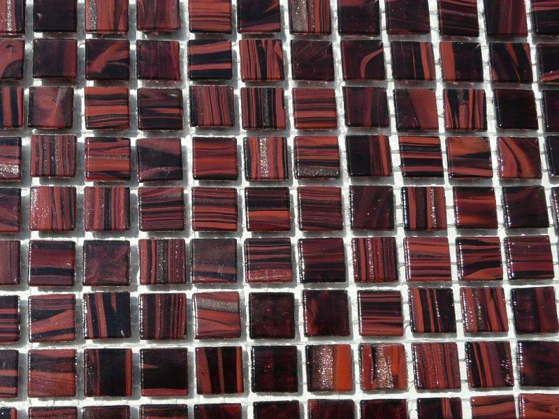 mosa que micro p tes de verre gemme au m mosa que p te de verre tons rouge brun 1 cm en plaque. Black Bedroom Furniture Sets. Home Design Ideas