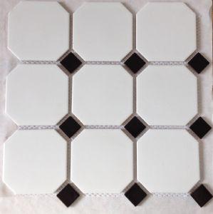 Mosa que carrelage gr s blanc satin 95 mm cabochon for Carrelage cabochon noir et blanc