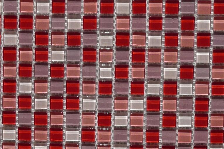 Rose mosaïque mix berlingot rose rouge 1.5 mm pâte de verre vétrocristal  par plaque