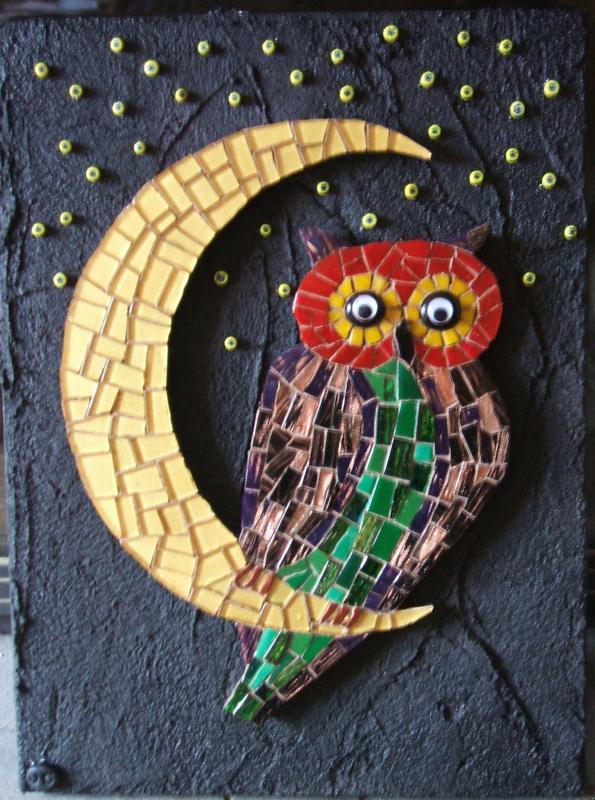 chouette support bois pour mosaique animaux hibou et chouette pour mosaique chez made in mosaic. Black Bedroom Furniture Sets. Home Design Ideas