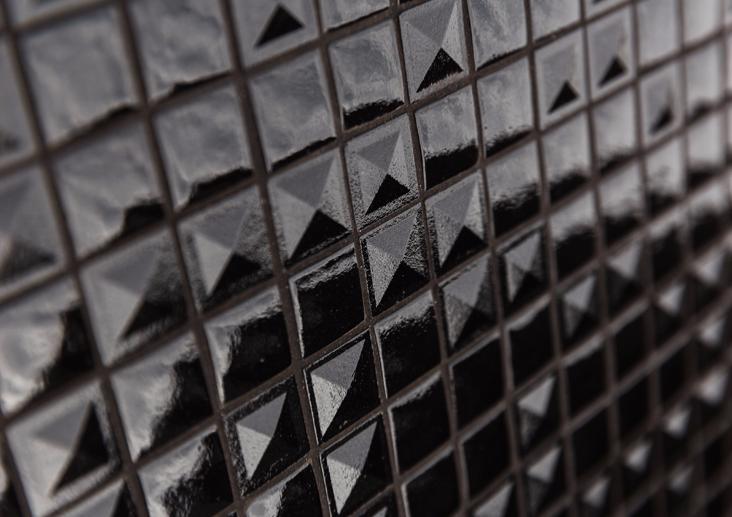Mosa que maux de verre noir pyramide relief par plaque de 33 5 cm achat mosaique salle de bain - Mosaique noire ...