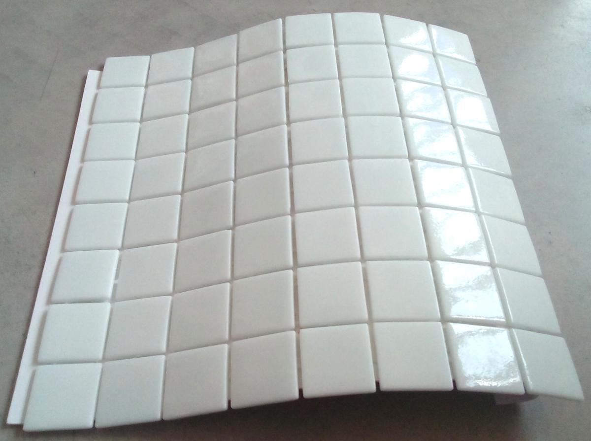 Mosa que carrelage blanc uni 4 cm au m achat mosa que for Carrelage piscine blanc